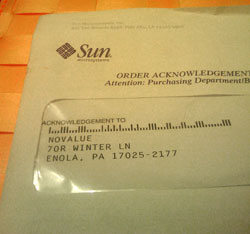 Envelope from Sun addressed to NOVALUE