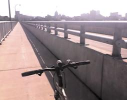 Bicycling on Harvey Taylor Bridge